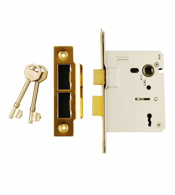 3 Lever Mortice Sash Lock Electro Brass