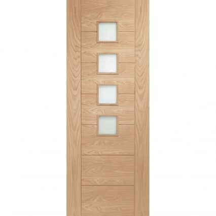 Palermo Oak Fire Door with Obscure Glass - 1981mm-x-686mm-x-44mm