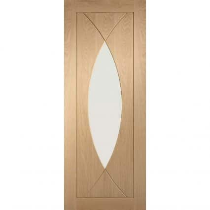 Pre-Finished Pesaro Oak Door with Clear Glass - 1981mm-x-686mm-x-35mm
