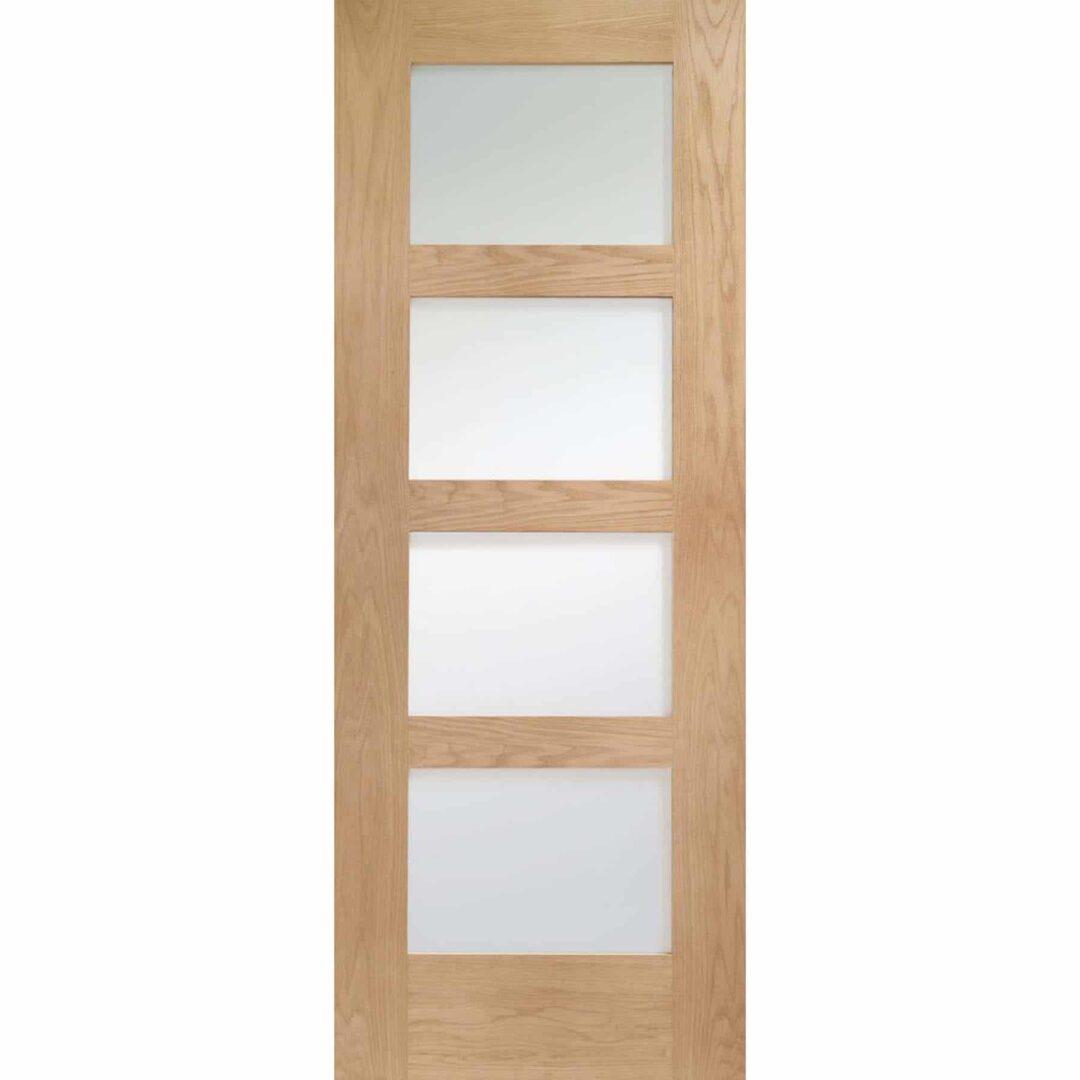 Shaker Oak 4 Panel Door with Obscure Glass