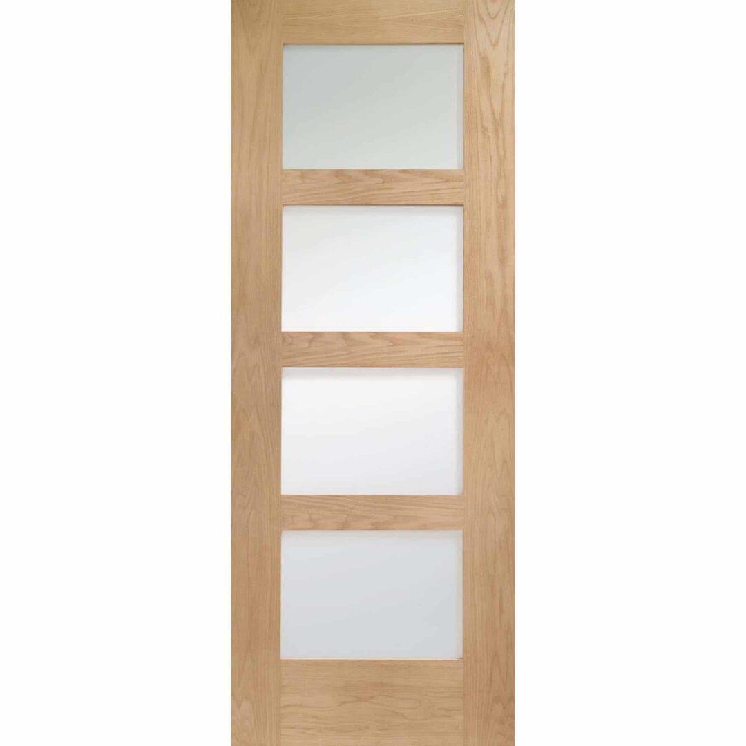 Shaker Oak 4 Panel Door with Clear Glass