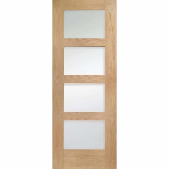 Shaker Oak 4 Panel Door with Clear Glass