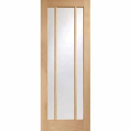 Pre-Finished Worcester 3 Panel Oak Door with Clear Glass - 1981mm-x-610mm-x-35mm