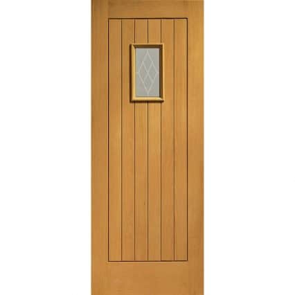 Pre-Finished Chancery Oak External Door with Decorative Glass - 1981mm-x-838mm-x-44mm