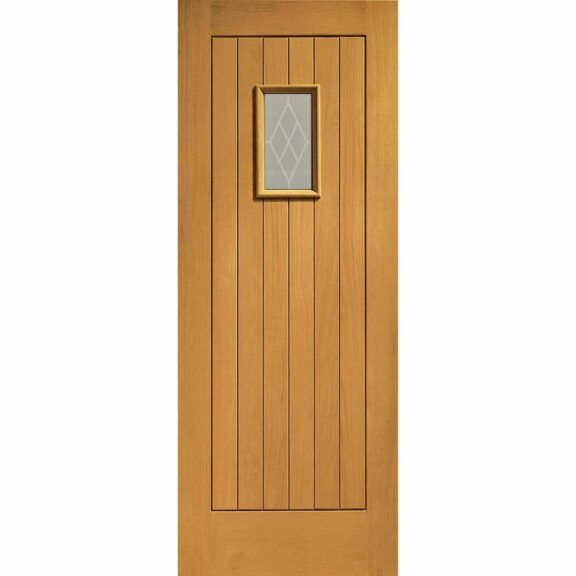 Pre-Finished Chancery Oak External Door with Decorative Glass