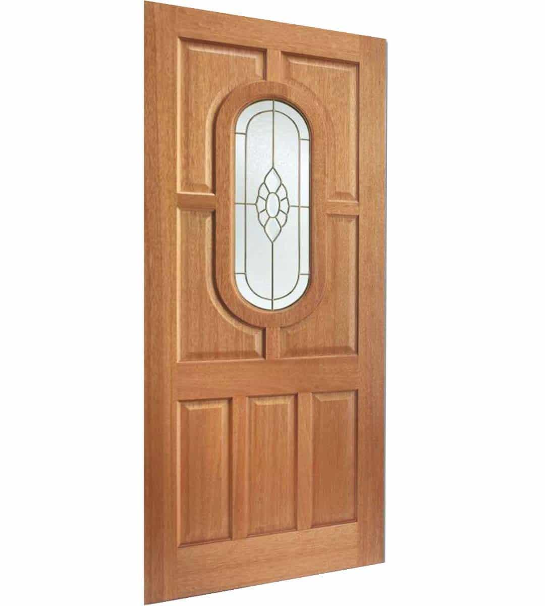 acacia hardwood external door with obscure glass