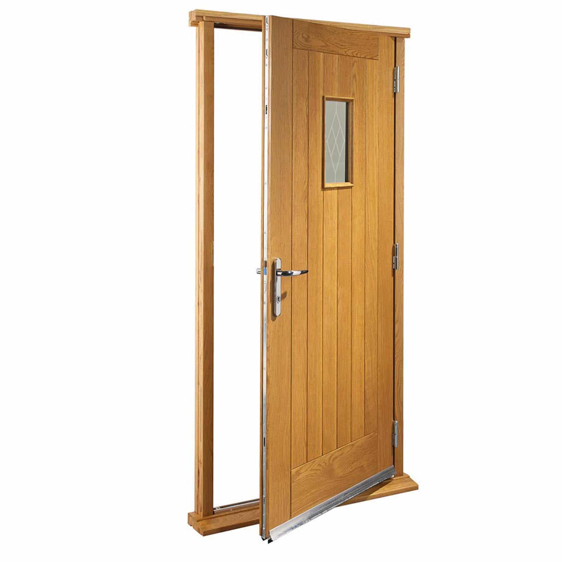pre finished chancery oak external door with decorative. Black Bedroom Furniture Sets. Home Design Ideas
