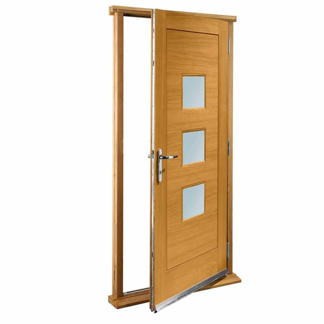 Pre-Finished Turin with Obscure Glass Exterior Oak Door