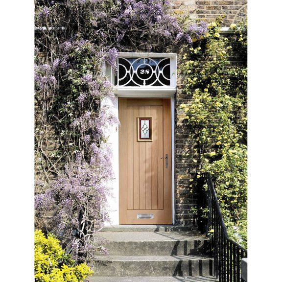 XL Joinery Chancery Onyx Triple Glazed Oak Exterior Door with Brass Caming