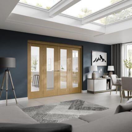 XL Joinery Freefold Room Divider Oak XL - 2090-x-3726mm