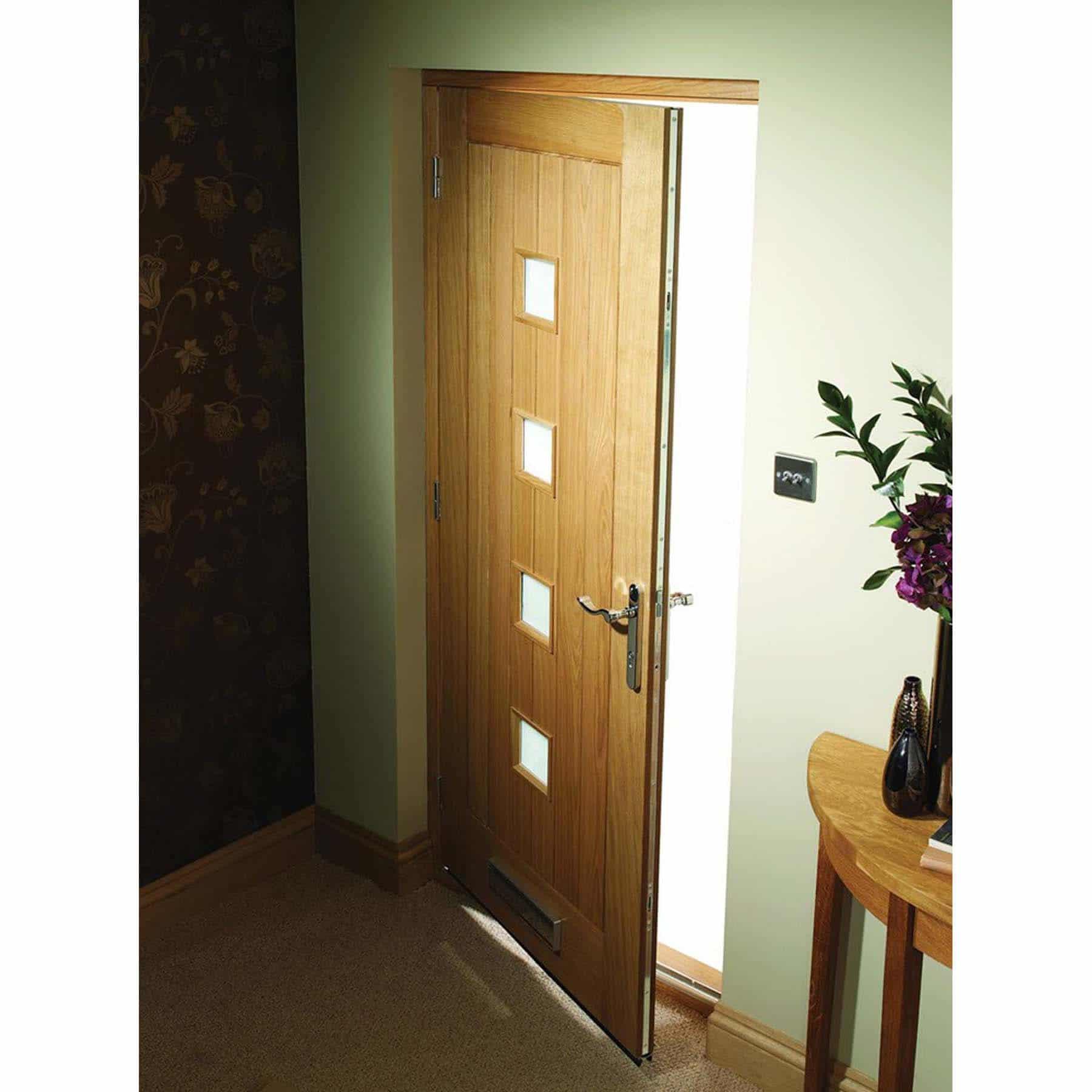 Pre Finished Siena With Obscure Glass External Oak Door