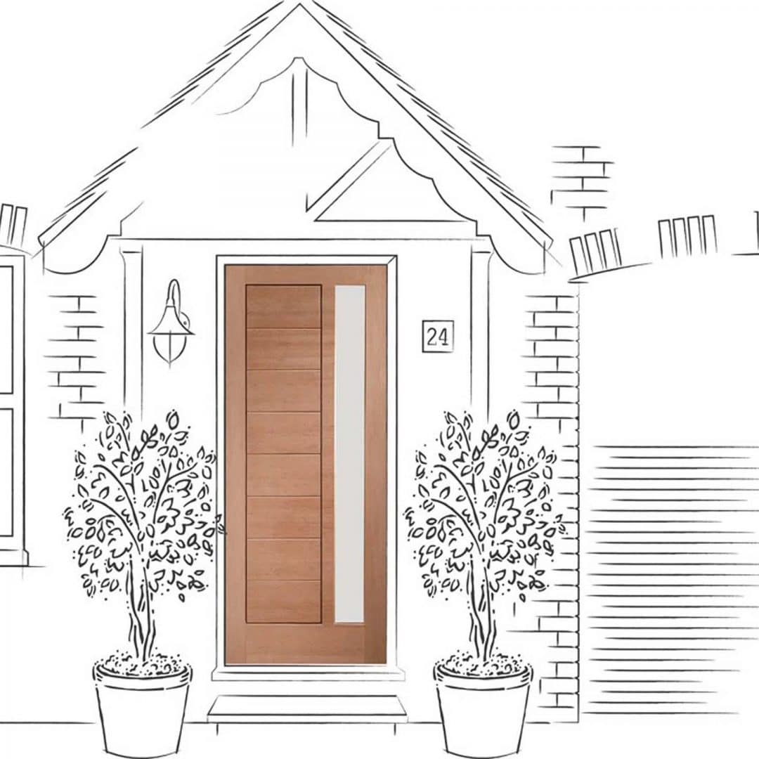 Pre-Finished Modena Exterior Oak Door with Obscure Glass