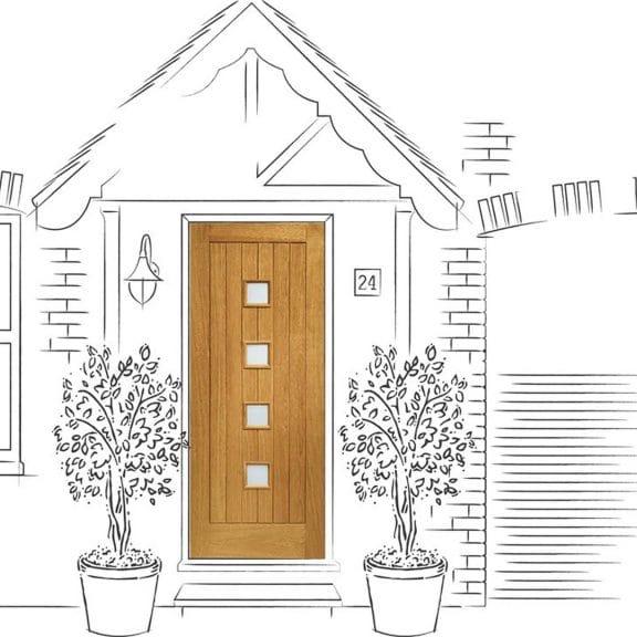 Pre-Finished Siena with Obscure Glass Oak External Door