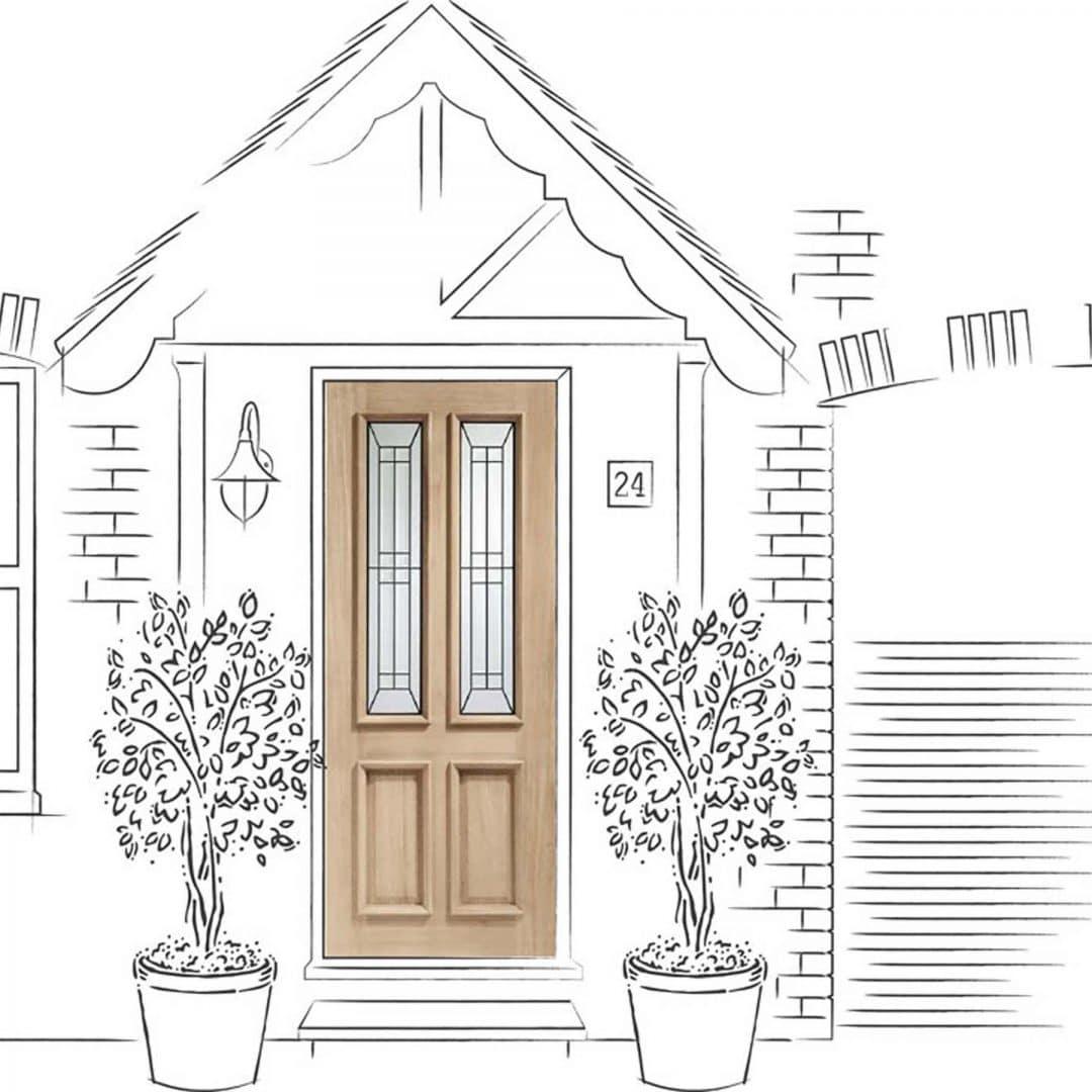 Malton Diamond Triple Glazed Exterior Oak Door