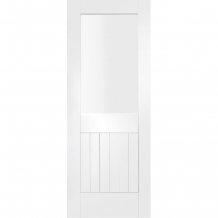 XL Joinery Internal White Primed Suffolk 1L with Clear Glass - 1981mm-x-610mm-x-40mm-78-x-24