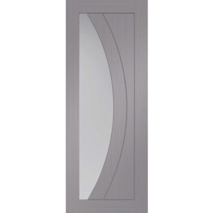 XL Joinery Salerno Pre-Finished Light Grey Door with Clear Glass - 1981mm-x-686mm-x-35mm