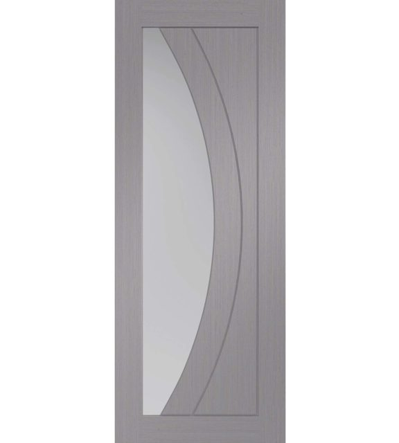 XL Joinery Salerno Pre-Finished Light Grey Door with Clear Glass