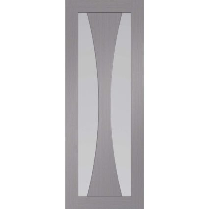 XL Joinery Verona Pre-Finished Light Grey Door with Clear Glass - 1981mm-x-686mm-x-35mm