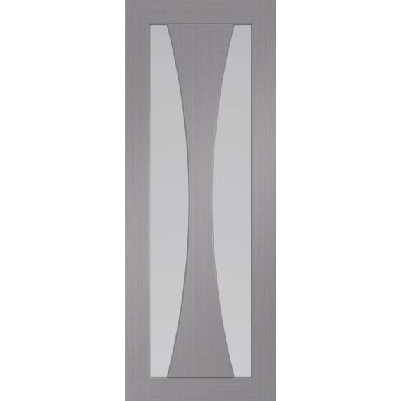 XL Joinery Verona Pre-Finished Light Grey Door with Clear Glass
