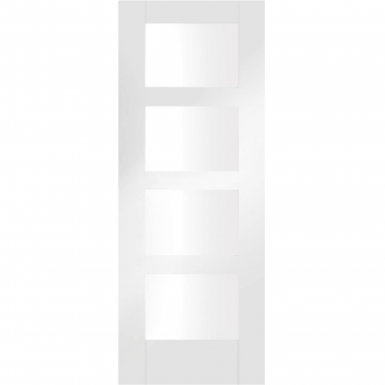 Severo Pre-Finished White Internal Door with Clear Bevelled Glass - 1981mm-x-686mm-x-35mm