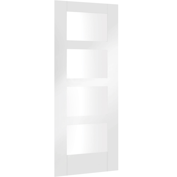 Severo Pre-Finished White Internal Door with Clear Bevelled Glass
