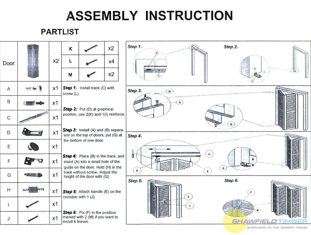 bifold door track assembly instructions