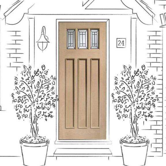 Balmoral Jade Triple Glazed External Oak Door (M&T) with Black Caming