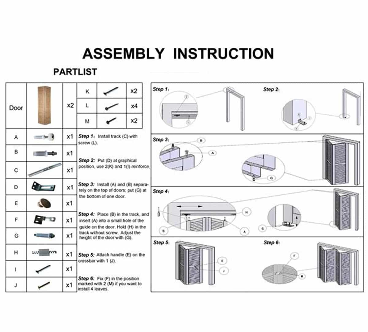 Images Of Folding Door Assembly Woonv Com Handle Idea