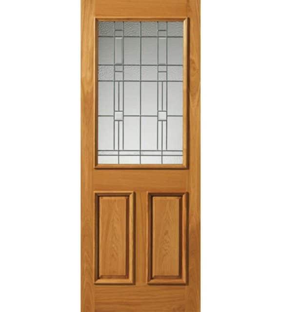 burgundy obscure glazed door with zinc camings oak exterior door