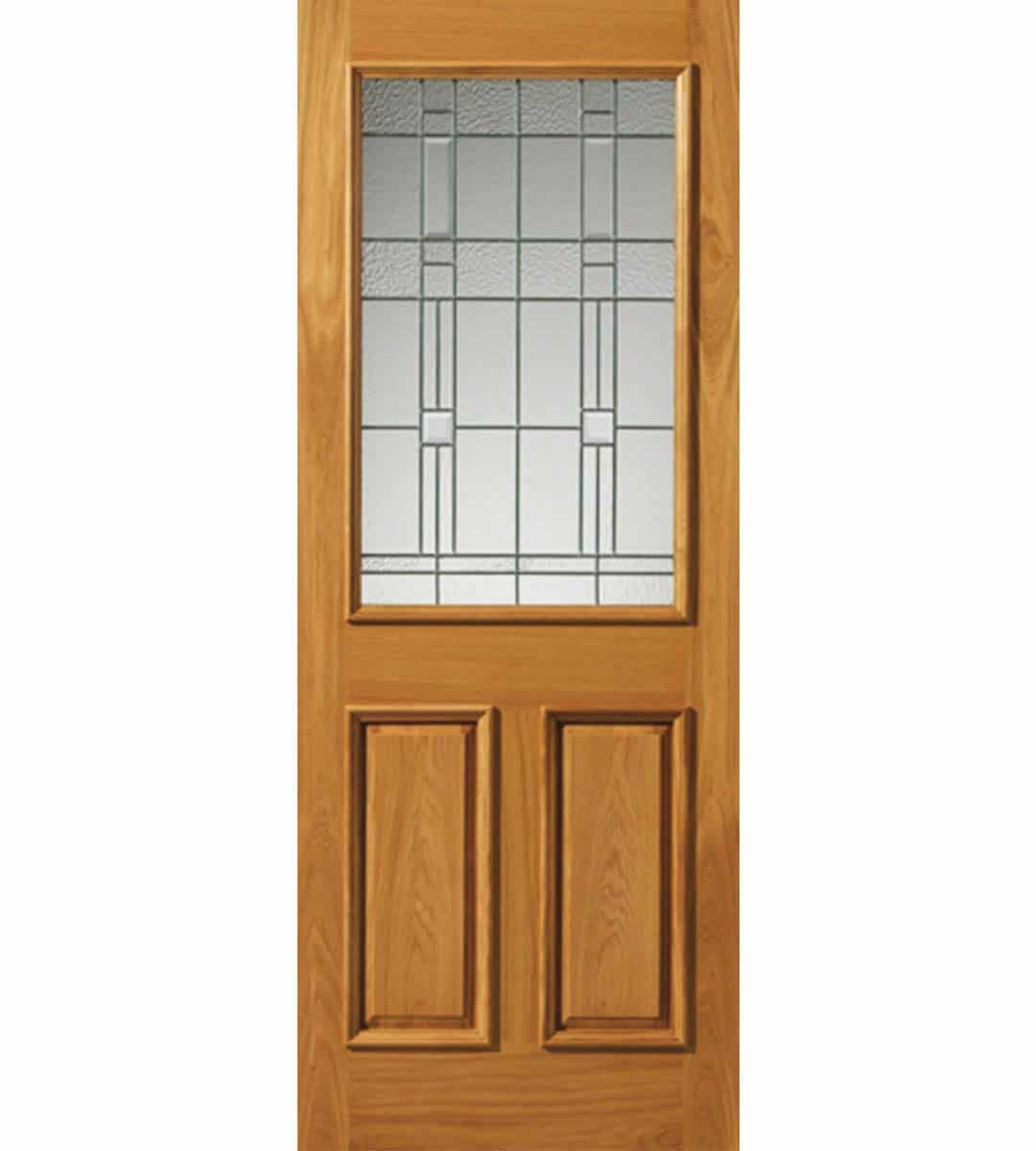 burgundy obscure glazed door with zinc camings oak exterior door
