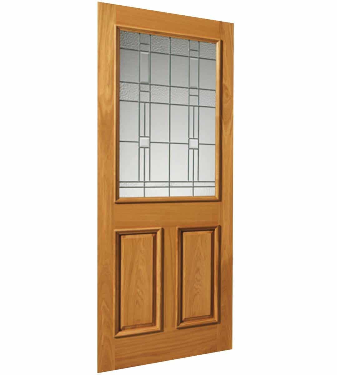 burgundy obscure glass door with zinc camings oak exterior door