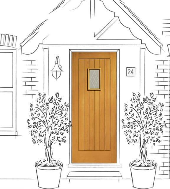 chancery oak external glass front door