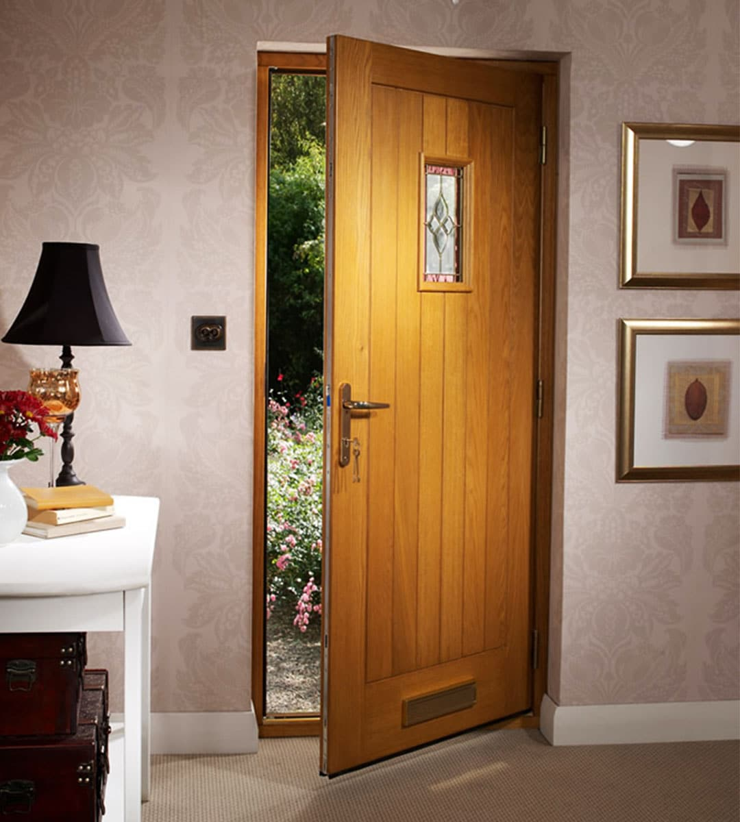 Oak Entry Doors : Pre finished chancery oak external door with decorative