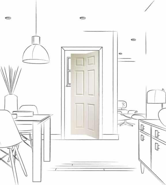 BiFold Sliding Door White Primed Colonist 6 Panel Folding Door Room