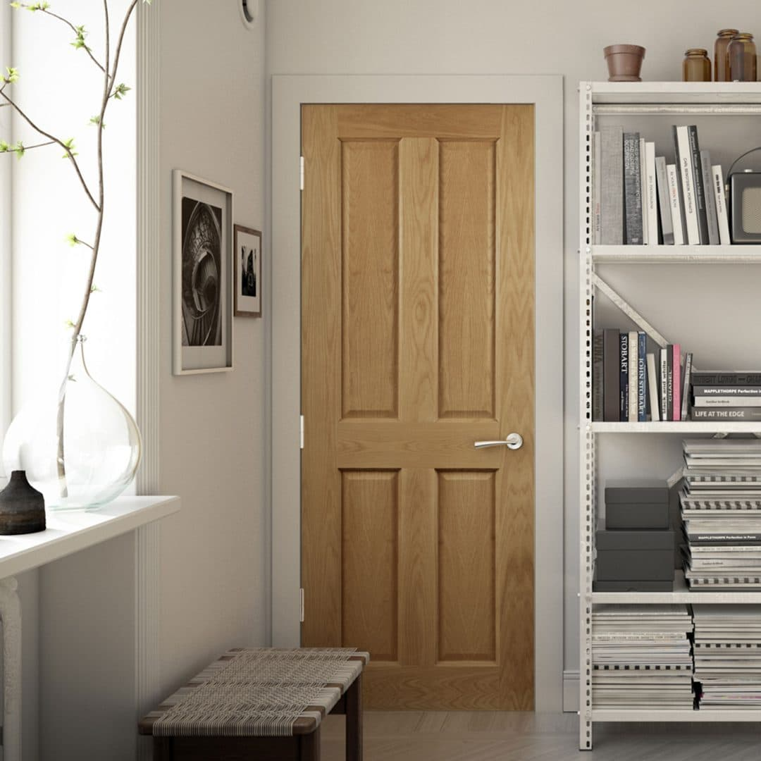 deanta bury 4 panel oak door