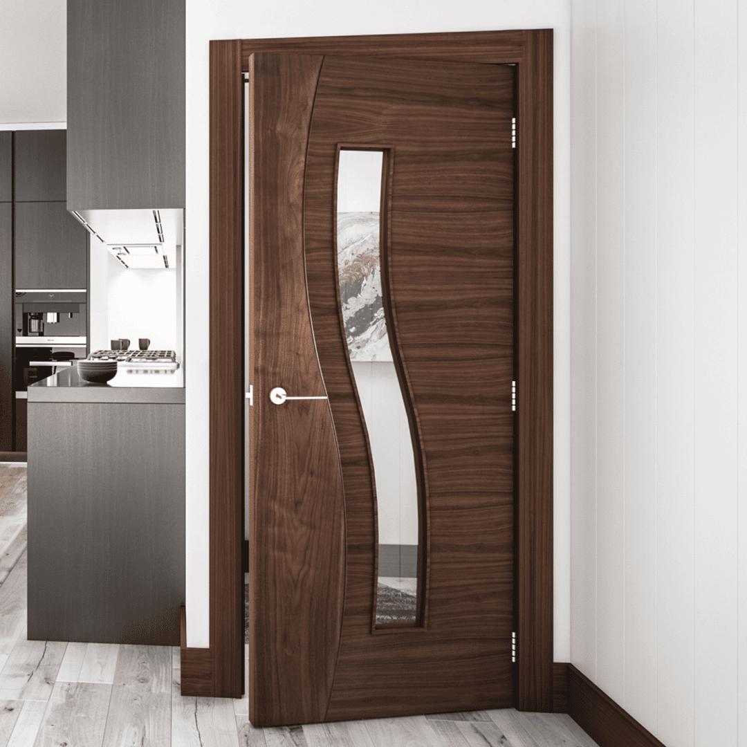 deanta cadiz glazed internal walnut door