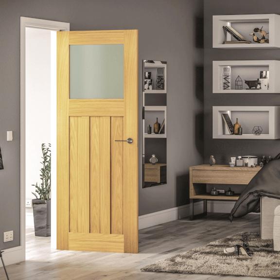 deanta cambridge obscure glazed unfinished oak door