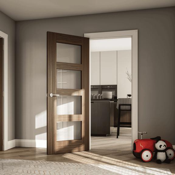 deanta coventry clear glazed walnut interior door