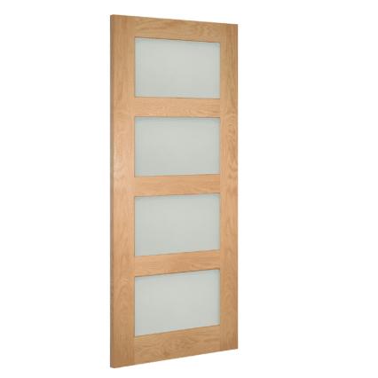 Deanta Coventry Obscure Glazed Prefinished Oak Door - 1981mm-x-610mm-x-35mm