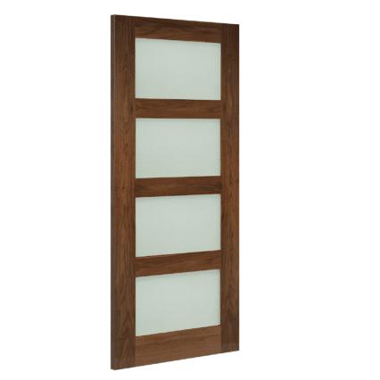 Deanta Coventry Obscure Glazed Walnut Internal Door - 1981mm-x-610mm-x-35mm