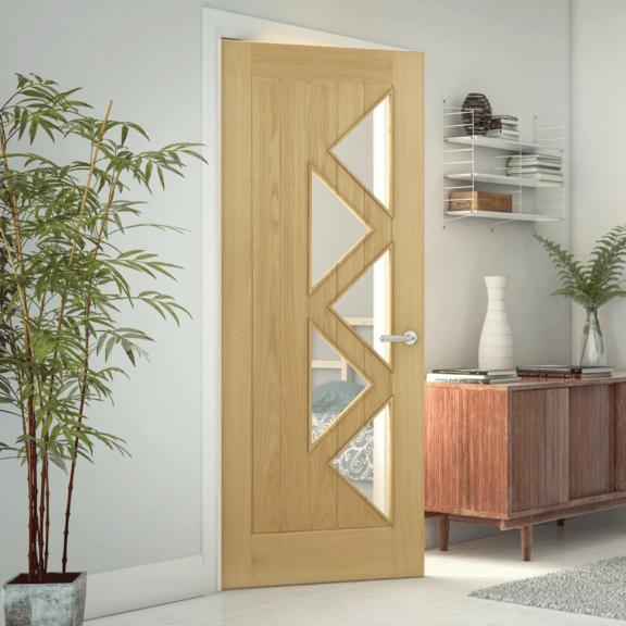 deanta ely clear glazed 5 prefinished oak door