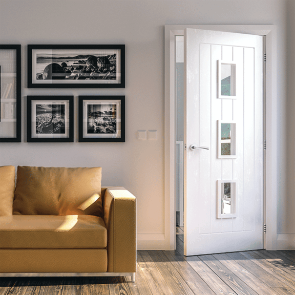 deanta ely glazed white interior door