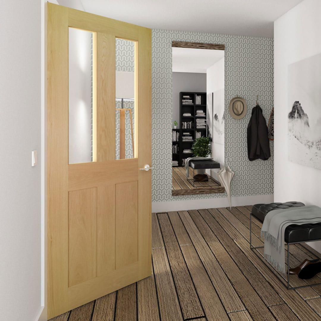 deanta eton glazed oak interior door