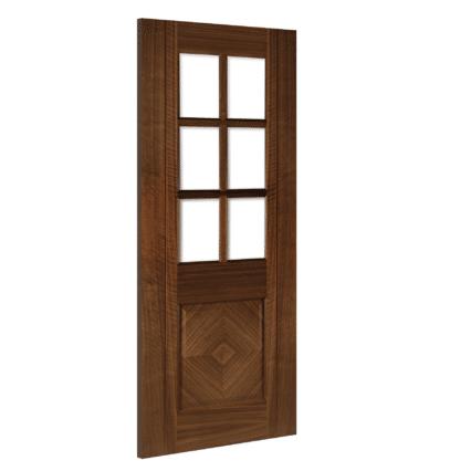 Deanta Kensington Glazed Interior Walnut Door - 1981mm-x-610mm-x-35mm