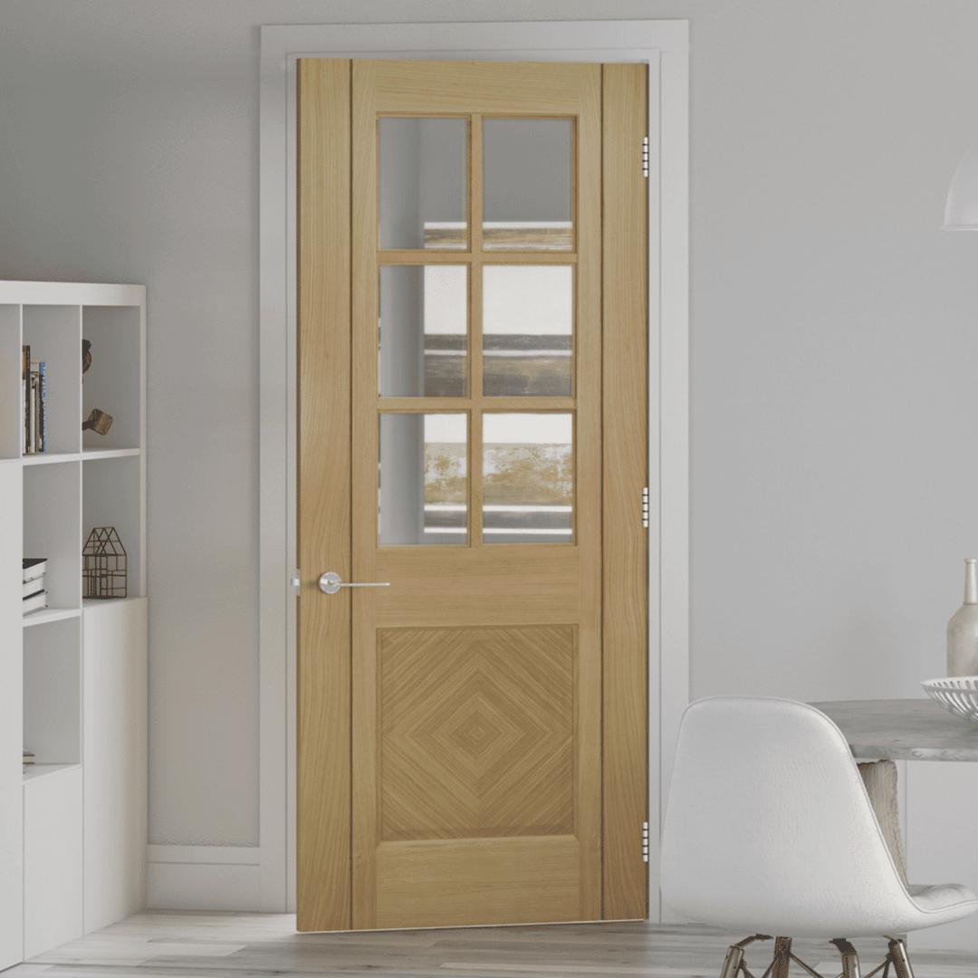deanta kensington glazed internal oak door