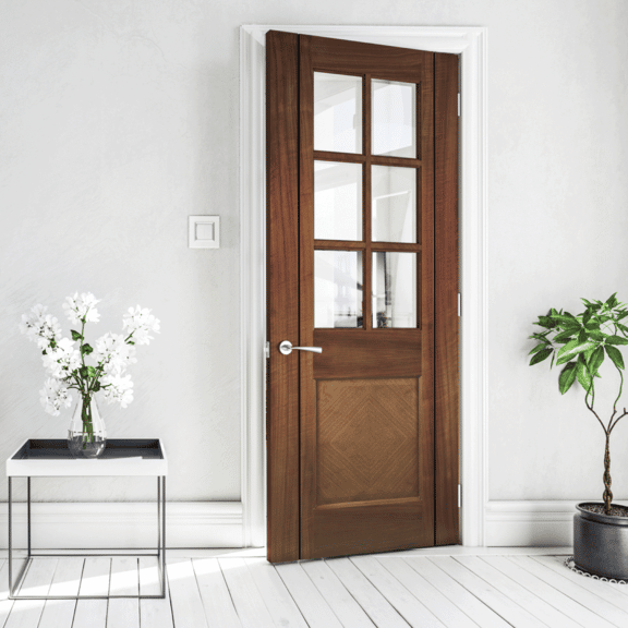 deanta kensington glazed internal walnut door