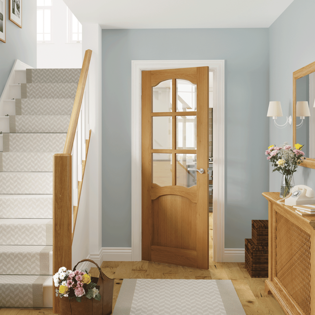 deanta louis clear glazed unfinished oak door