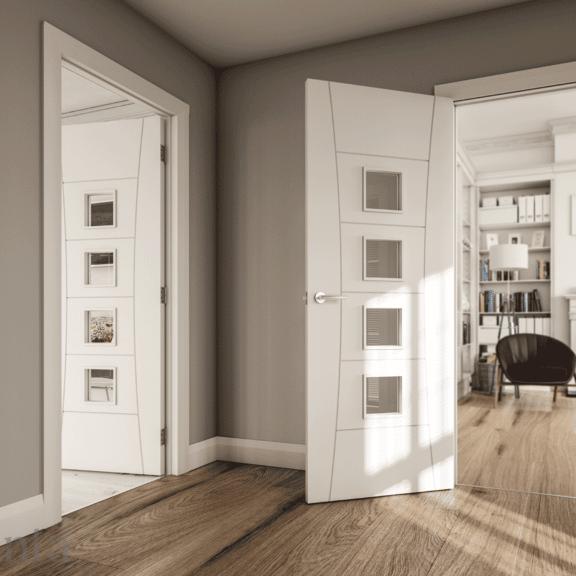 deanta pamplona clear glass white door