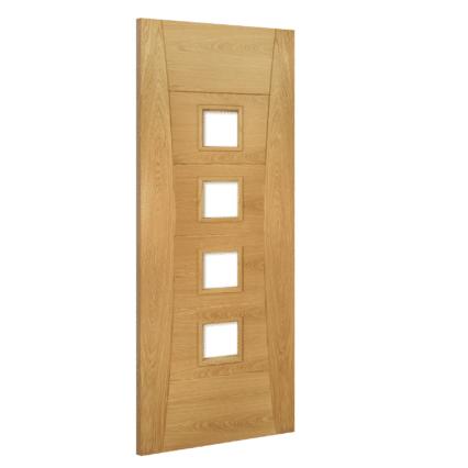 Deanta Pamplona Oak Internal Glazed Door - 1981mm-x-610mm-x-35mm