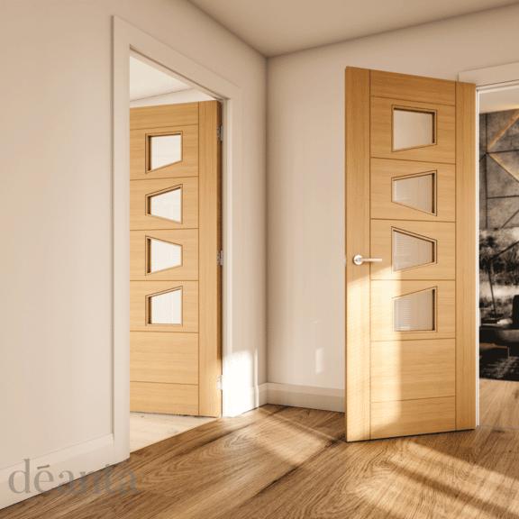 deanta seville clear glazed slanted prefinished oak interior door